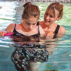 Pupils and staff using the hydrotherapy pool at Elms Bank