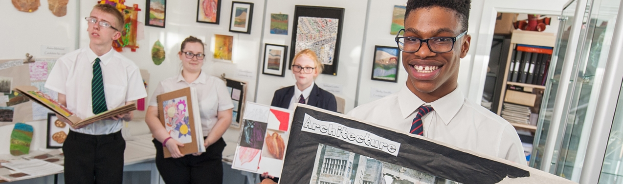 Pupils with their art work at Elms Bank