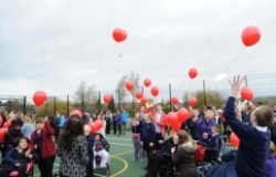 Pupils at the Rememberance Day tribute