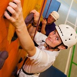 Pupil using the climbing wall at Elms Bank